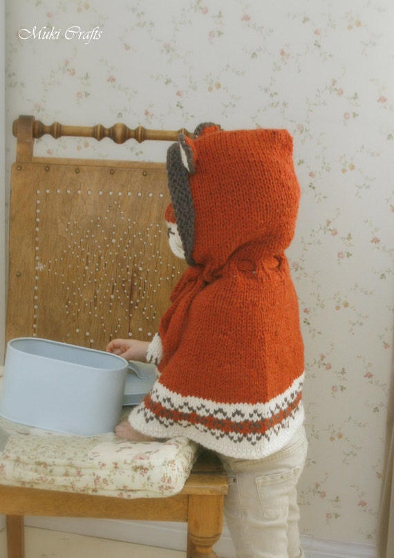 KNITTING PATTERN fox poncho with hood and cowl Lexi with Fair