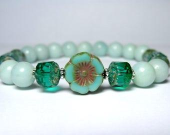 Green Amazonite Bracelet, Womens Beaded Bracelet, Boho Hippie Bracelet, Czech Flower Bracelet, Nature Bracelet, Gemstone Bracelet