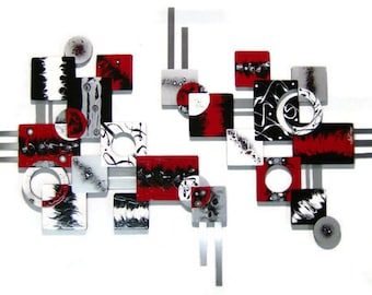 BOLD 2pc Red Black Contemporary Modern Geometric Abstract Wood Metal Wall Sculpture 52x30