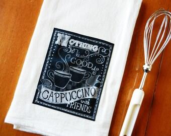 Chalkboard Cappuccino Tea Towel, Coffee Flour Sack Dish Towel, Applique Kitchen Towel, Chalkboard Tea Towel, Coffee Lover Gift