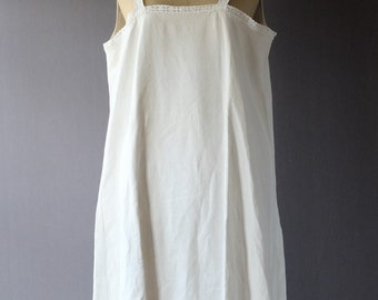 """1920s cream linen/cotton slip dress, night gown, chemise 44"""" bust, broderie anglaise straps"""
