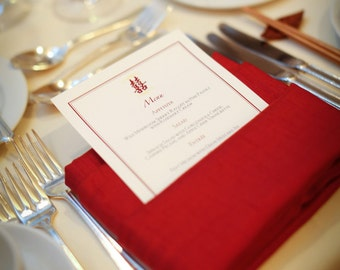 Double Happiness Reception Menu Cards