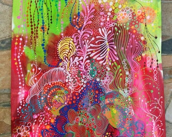 """Decorative painting, intuitive art, Abstract painting, abstract painting done with markers posca and acrylic painting titled """"Fluoride"""""""