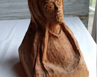 Vintage 1976 Wood Carving of Jesus Christ by Amsterdam, NY Artist/Sculptor Matthew Orante