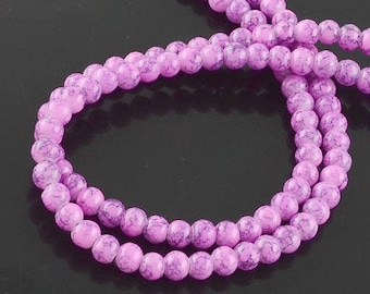 10mm Spray Painted Glass Bead Strand -Pink/Gray (B194e)