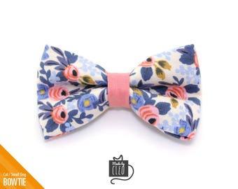 """Floral Cat Bow Tie - """"Amelie"""" - Rifle Paper Co® Fabric / Cat Collar Bow Tie / Small Dog Bow Tie - Removable (One Size)"""