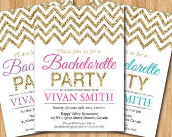 Bachelorette Party Invitation. Gold Glitter Chevron Bridal Shower Invite. Pink, Purple, Blue, Any color. Printable digital DIY.