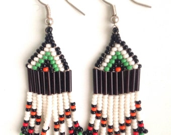 MADE IN AFRICA beaded bohemian earrings// white & green
