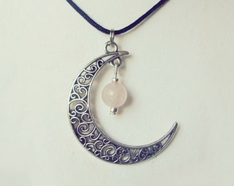Very Nice Crescent Moon pendant and Pink Quartz Necklace.