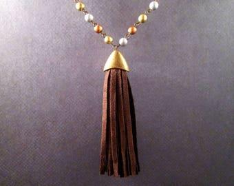 Tassel Necklace, Brown Microsuede Tassel Pendant, Metallic Wood Beaded Brass Chain Necklace, FREE Shipping U.S.