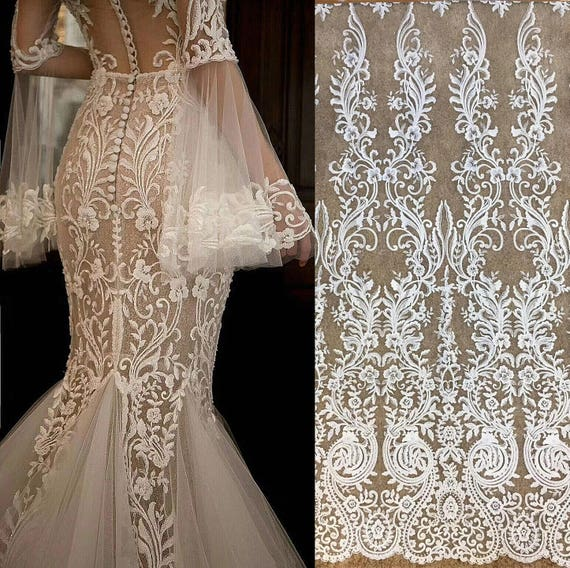 Wedding Gown Fabrics Guide: 1 Yard Exquisite Clear Sequin Bridal Lace Fabric Heavy Bead