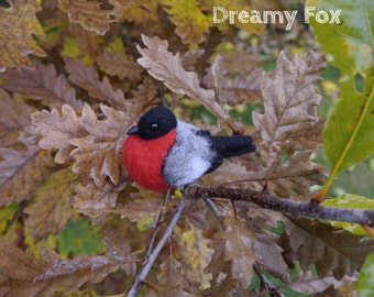 Needle felted bullfinch