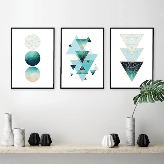 Set Of 3 Downloadable Printable Geometric Prints Turquoise Aqua Grey Copper  Affiche Scandinavian Modern Print Art Minimalist Poster Scandi Good Ideas