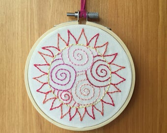 Spiral Sun Abstract Embroidery Hoop Art