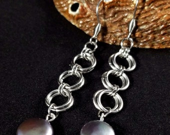 Chainmaille Tahitian Pearl Earrings