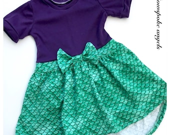 Mermaid dress - girls dress - skater dress - toddler dress - girls handmade dress - party dress - birthday dress