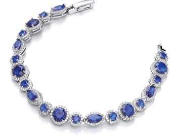 Sterling Silver Marquise & Round Cut Sapphire Blue Cz Cluster Link Bracelet Hallmarked