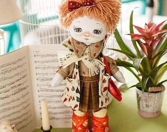 "Doll Making Kit, Set for sewing doll, Textile doll ""Violinist"", Set for textile doll, Handmade doll, Sewing kit"