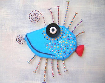 Blue Bluegill, MADE to ORDER, Original Found Object Wall Sculpture, Wood Carving, Fish Wall Art, Wall Decor, by Fig Jam Studio