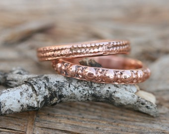 Made To Order, Two Gold Rings, Stacking Rose Gold Band, Antique Roman Design ,Solid Gold Wedding Ring, Handcraft Ring, 14K GOLD BAND