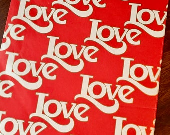 """Love, Love, Love, Valentines Day or Any Day, Vintage Wrapping Paper, Red and White, Gold Outline Letters, Vintage Hallmark, 30"""" X 12"""""""