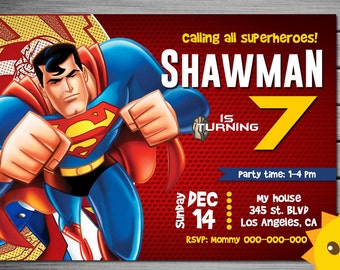 Superman invitation etsy superman invitation superman birthday stopboris Choice Image