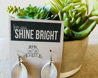 Silver Pinched Petal Earrings