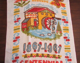 vintage CANADA'S CENTENNIAL 1867-1967 terry cloth Tea Dish TOWEL T-320