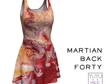 """Flare Dress, Rave Dress, Psychedelic, Poured Paint Art, """"Martian Back Forty"""""""