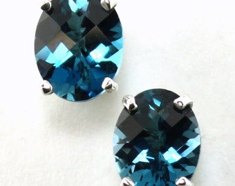 London Blue Topaz, 925 Sterling Silver Post Earrings, SE002