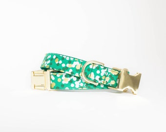 Christmas Confetti Dog Collar in Emerald Green
