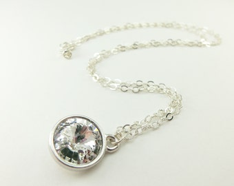 April Birthstone Necklace Clear Crystal Necklace Sterling Silver Necklace Clear Crystal Diamond Birthstone Necklace