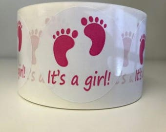 "100 It's A Girl! Labels 2"" Circle Peel & Stick Stickers"