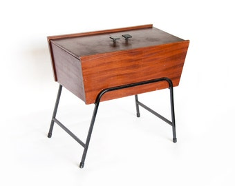 Mid Century Modern Sewing Cabinet, 1950s 1960s Wood Sewing Stand, Storage Box, Cabinet,