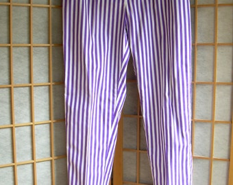 SALE!  Retro 1980s COTTON PURPLE + White Striped  unworn hiphugger Pants. Drop wide loops  Sz 36 Hip. Belt not included.  Made in Canada