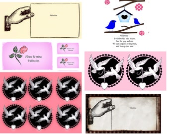 Valentines card toppers gift tags cards crafts steampunk romantic poetry lovebirds doves 6 designs download just 99p