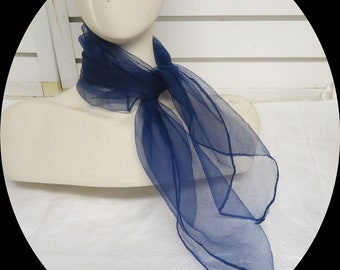 "Navy Sheer Chiffon Rockabilly Vintage Scarf 25"" X 26""  #005"