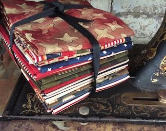 "Fabric: FAT QUARTER  15 pc. Bundle ""American Soldier"" Sampler Fabrics from Moda Fabrics"