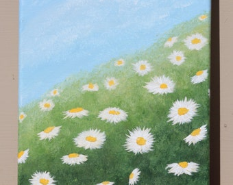 Field of Daisies: Original Acrylic Painting on Stretched Canvas, 8x10 inches