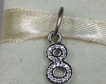 Authentic Pandora Silver Number 8 Charm #791346CZ