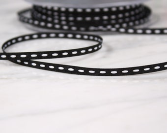 5 m of Ribbon 4mm, polyester, black and white, (4825)