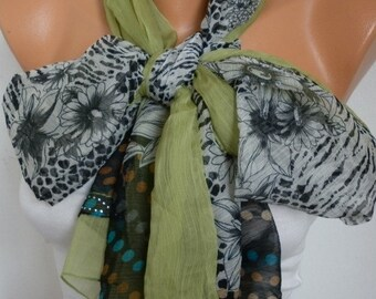 Grass Green Floral Chiffon Scarf,Spring Scarf,Wedding Scarf, Easter Shawl Scarf,Gift Ideas For Her Women Fashion Accessories