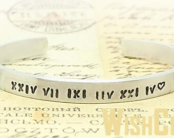 Roman Numeral Cuff Bracelet - Personalized Cuff Bracelet, Special Date Bracelet, Handstamped Bracelet, Roman Numeral Jewelry, Gift Ideas.