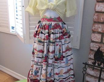Best ever Cotton 1950s Vintage Novelty print skirt with huge jutting pockets 1950s vintage, VLV, novelty print asian print