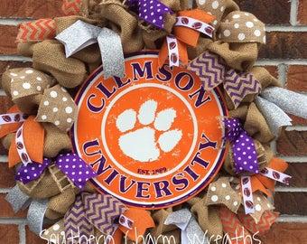 Burlap Clemson University Wreath