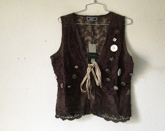 FREE SHIPPING - Vintage Lace Top Blouse