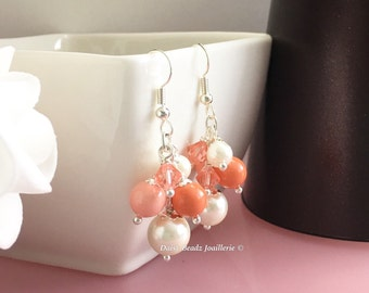 Shades of Coral and Ivory Earrings Coral Pearl Earrings Cluster Earrings Coral Earrings Bridesmaid Earrings Coral Wedding Gift for Moms