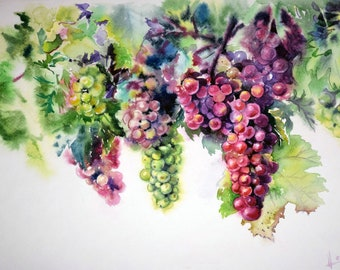 Watercolor grapes fruit nature colorful print Still life Interior gift Beautiful picture realistic art