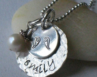 ANGEL BABY - - personalized hand stamped necklace