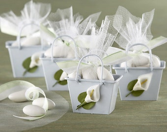 Calla Lily Spring Wedding Flower Favor Metal Mini Boxes Pail Tins - Pkg 12